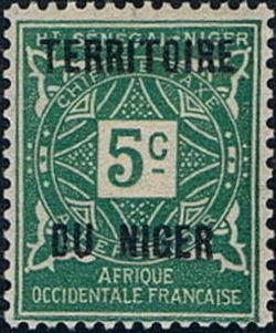 Niger 1921 Postage Due Stamps of Upper Senegal and Niger Overprinted