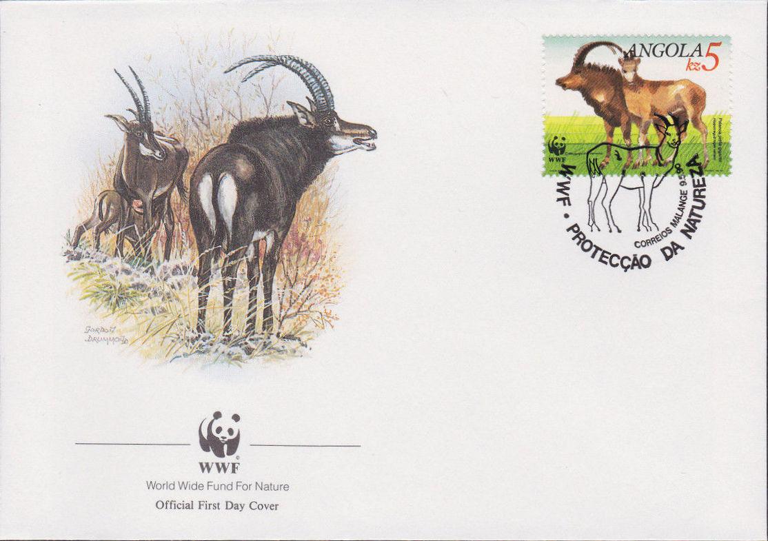 Angola 1990 WWF - Giant Sable Antelope FDCb.jpg