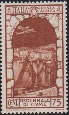 Italy 1934 10th Anniversary of Annexation of Fiume - Air Post Stamps c.jpg