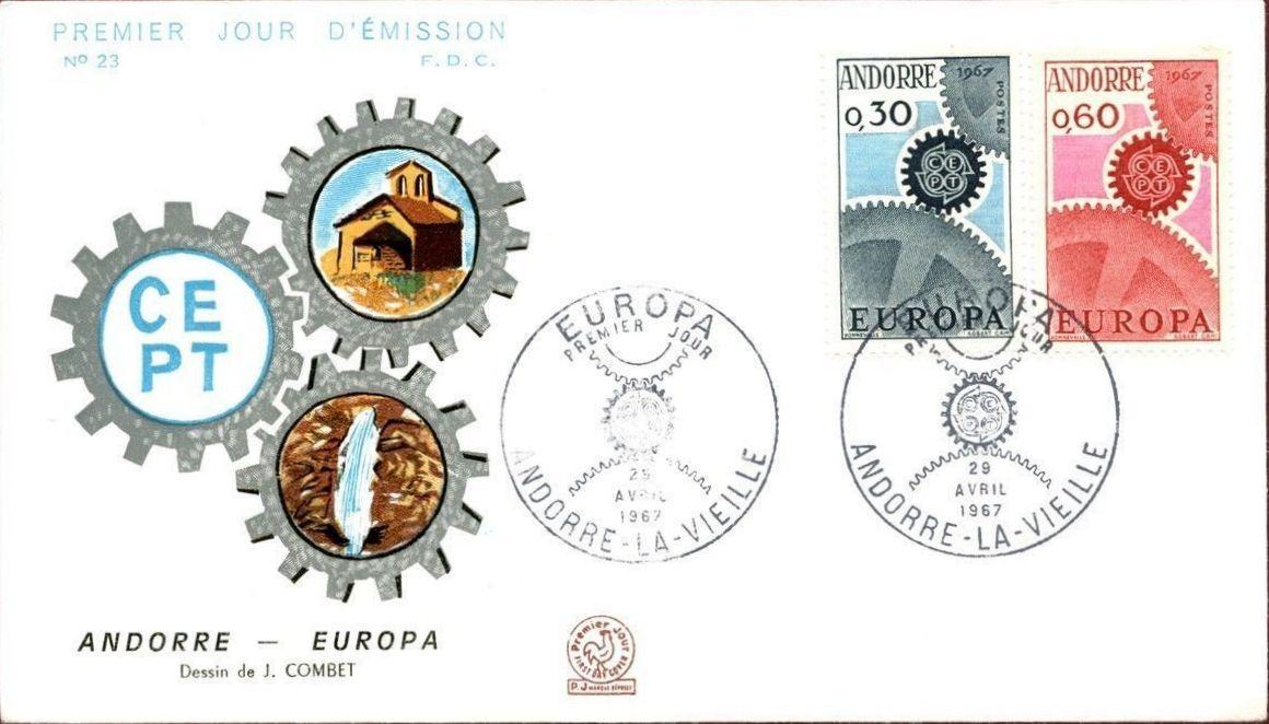 Andorra-French 1967 Europa FDCd.jpg