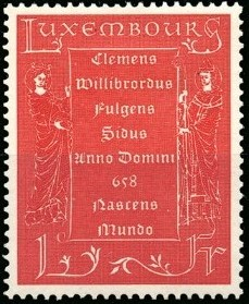 Luxembourg 1958 1300th birth Anniversary of St. Willibrord, apostle of the Low Countries a.jpg