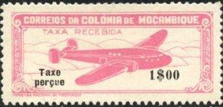 "Mozambique 1947 Airplane over Mountainous Region with ""Taxe Perçue"" b.jpg"