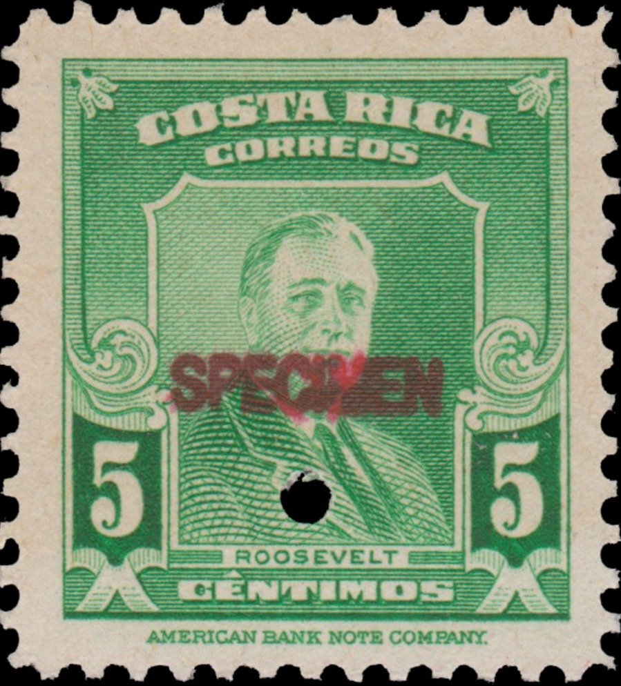 Costa Rica 1947 Franklin D. Roosevelt - Regular Stamps SPECa.jpg