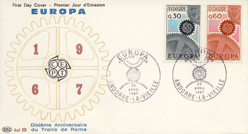 Andorra-French 1967 Europa FDCf.jpg