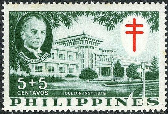 Philippines 1958 Philippine Tuberculosis Society - Manuel Quezon & the Quezon Institute