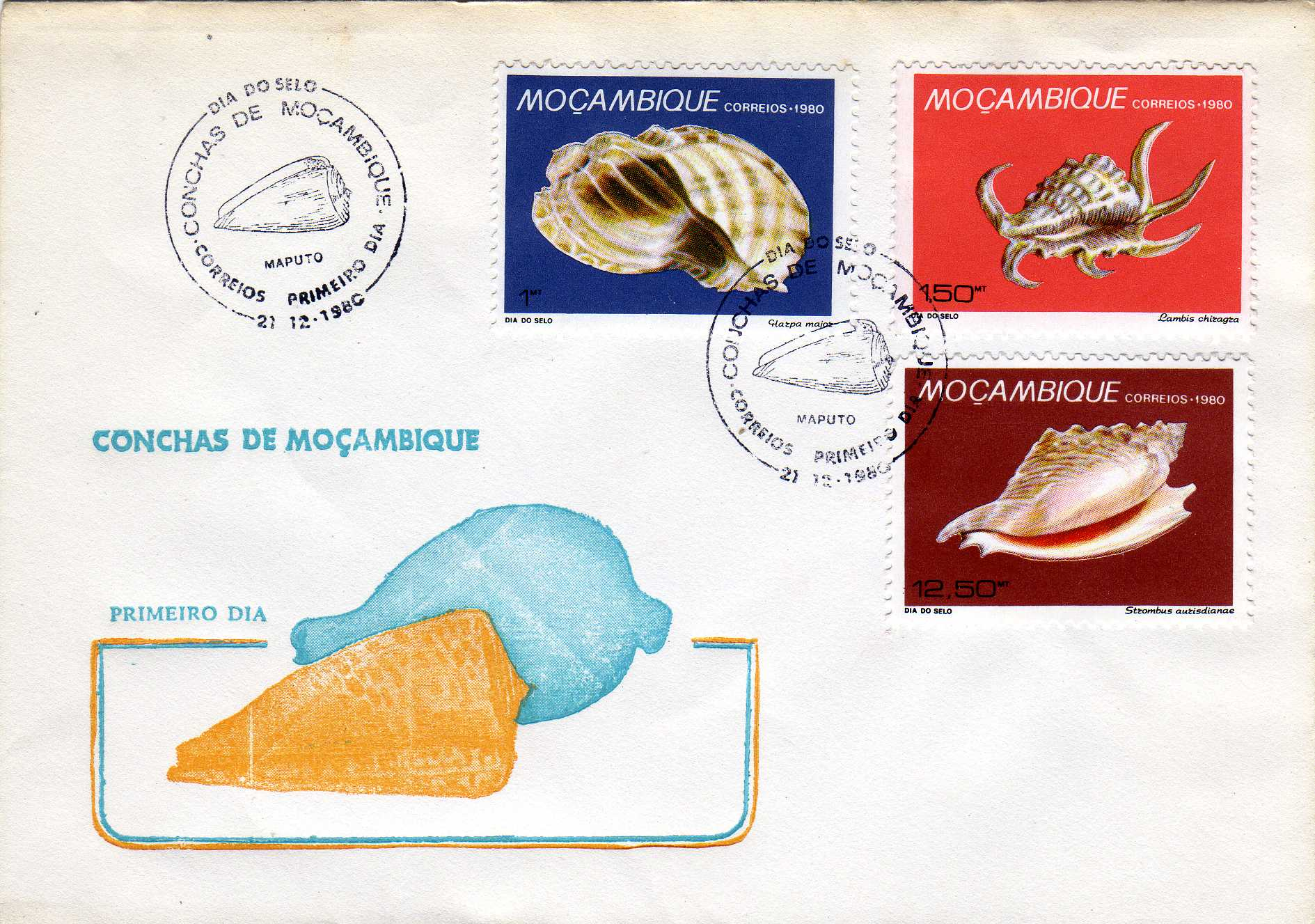 Mozambique 1980 Stamp Day - Maritime Shells of Mozambique FDCa.jpg
