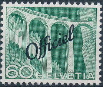 Switzerland 1950 Engineering - Switzerland Postage Stamps of 1949 Overprinted Officiel j.jpg
