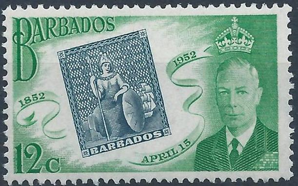 Barbados 1952 Centenary of Barbados Postage Stamps c.jpg