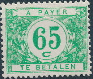 Belgium 1949 Postage Due Stamps (Digit on White Background)