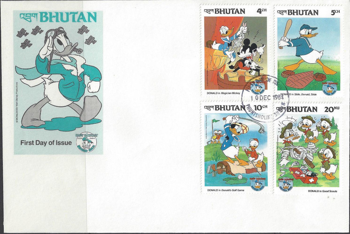 Bhutan 1984 50th Anniversary of Donald Duck l.jpg