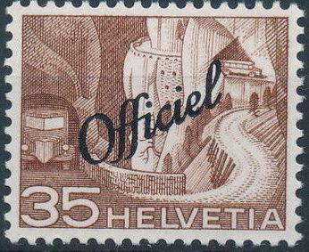 Switzerland 1950 Engineering - Switzerland Postage Stamps of 1949 Overprinted Officiel g.jpg