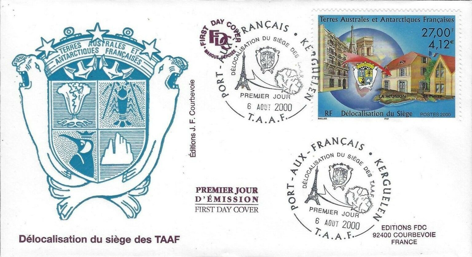 French Southern and Antarctic Territories 2000 Relocation of Headquarters to Reunion
