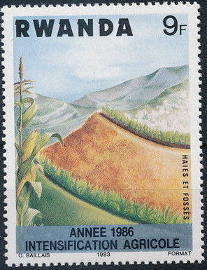 Rwanda 1986 Soil Erosion Prevention (Surcharged and Overprinted)
