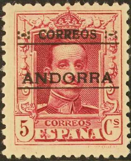 Andorra-Spanish 1928 Alfonso XIII from Spain Overprinted b.jpg