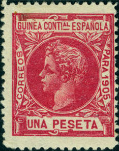 Spanish Guinea 1905 Alfonso XIII k.jpg