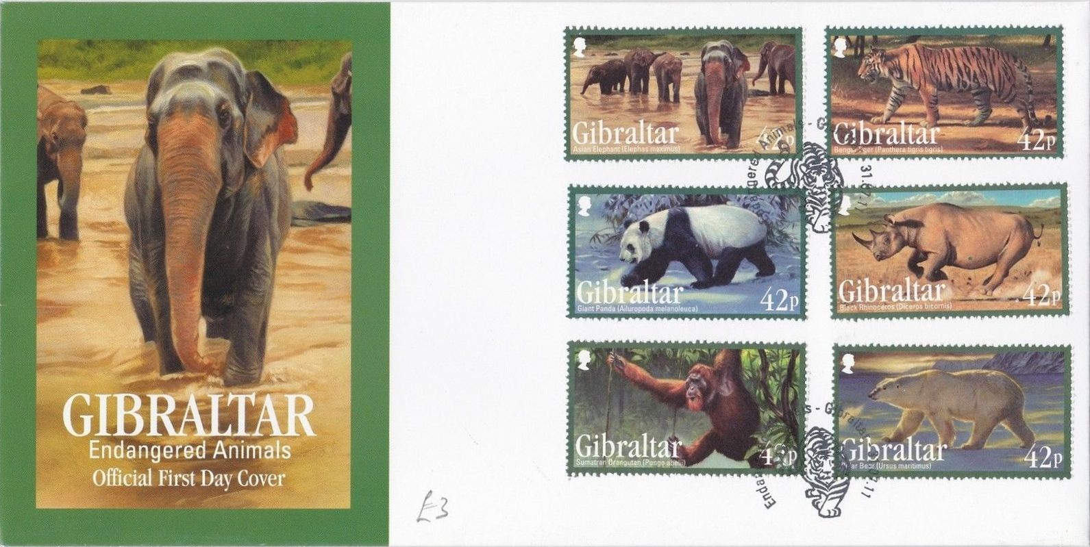 Gibraltar 2011 Endangered Animals FDCa.jpg