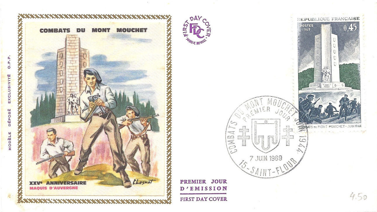 France 1969 25th Anniversary of the Battle of Mt. Mouchet FDCa.jpg