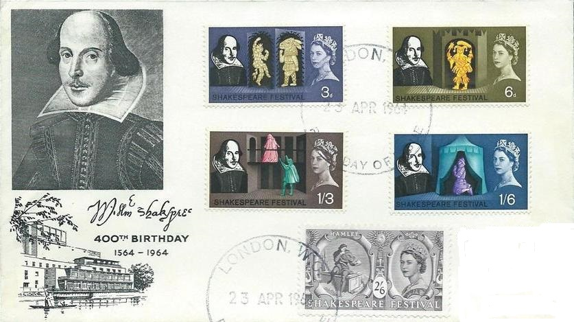 Great Britain 1964 400th Anniversary of the Birth of William Shakespeare FDCe.jpg