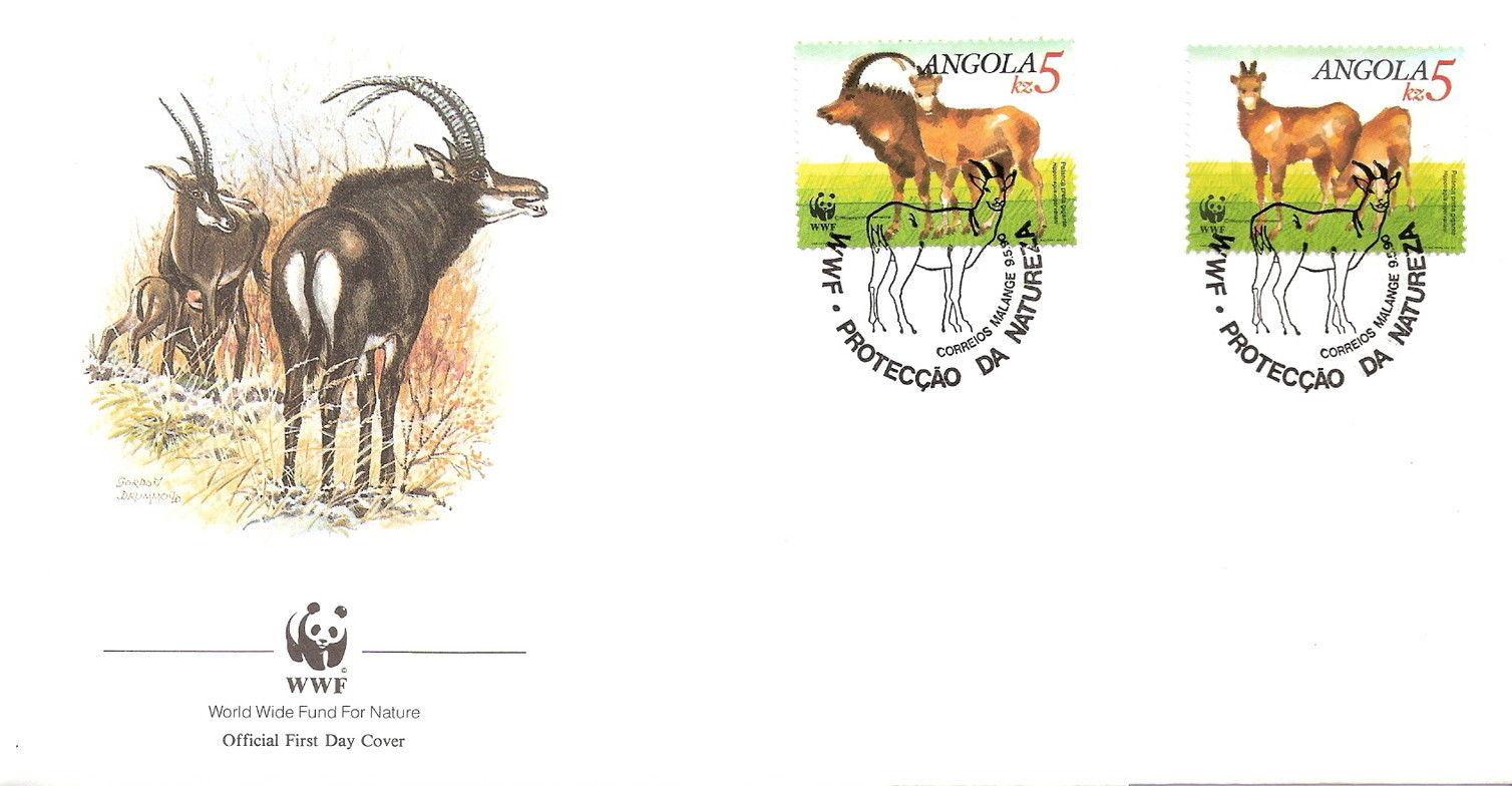 Angola 1990 WWF - Giant Sable Antelope FDCf.jpg