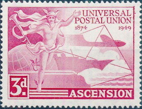 Ascension 1949 75th Anniversary of Universal Postal Union UPU a.jpg
