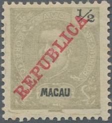 "Macao 1911 Carlos I of Portugal Overprinted ""REPUBLICA"""