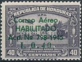 Honduras 1945 Air Post Stamps of 1937-1939 Surcharged g.jpg