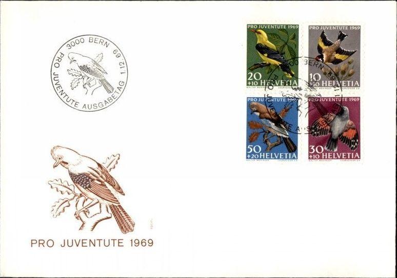 Switzerland 1969 PRO JUVENTUTE - Birds FDCa.jpg