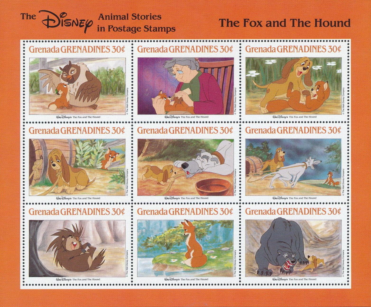 Grenada Grenadines 1988 The Disney Animal Stories in Postage Stamps SSb.jpg