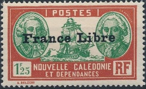 """New Caledonia 1941 Definitives of 1928 Overprinted in black """"France Libre"""" x.jpg"""