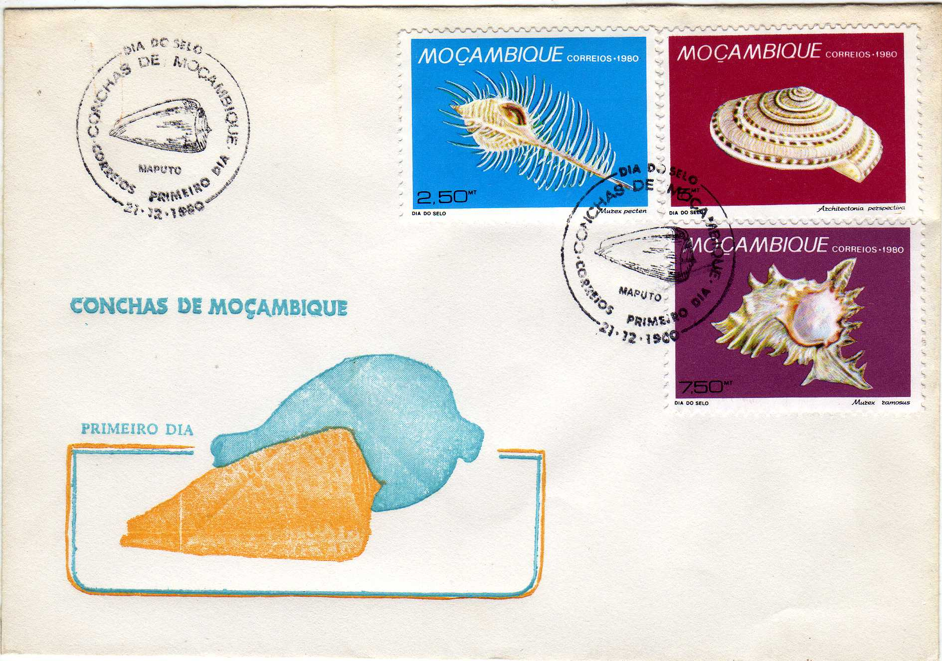 Mozambique 1980 Stamp Day - Maritime Shells of Mozambique FDCb.jpg
