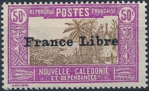 "New Caledonia 1941 Definitives of 1928 Overprinted in black ""France Libre"" n.jpg"