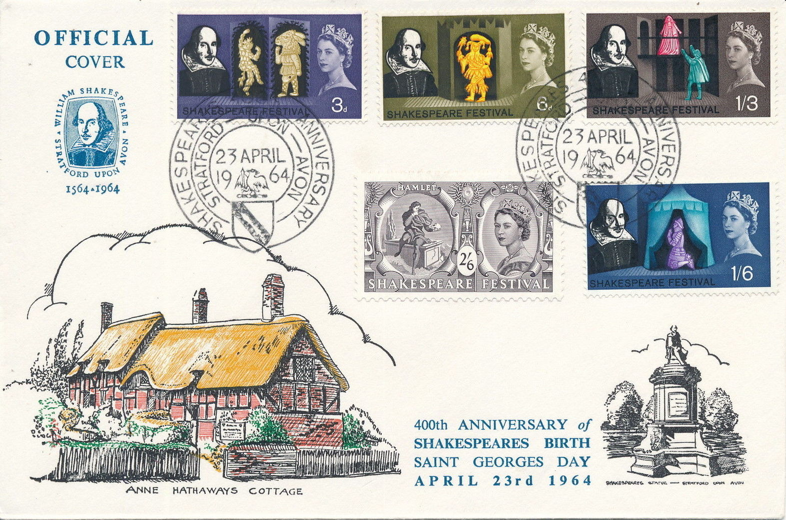 Great Britain 1964 400th Anniversary of the Birth of William Shakespeare FDCd.jpg