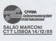 Portugal 1985 CPRM-International Telecommunications-Marconi Hall PMa