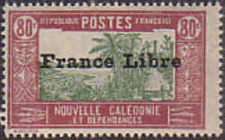 """New Caledonia 1941 Definitives of 1928 Overprinted in black """"France Libre"""" t.jpg"""