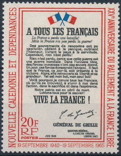 New Caledonia 1965 25th Anniversary of the rallying of the Free French