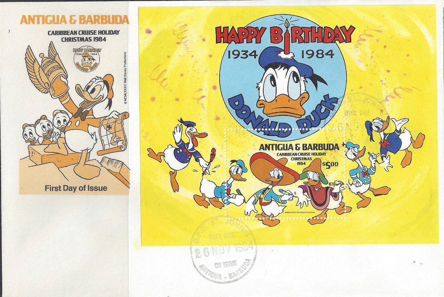 Antigua and Barbuda 1984 Disney - Christmas - 50th Anniversary of the Birth of Donald Duck p.jpg