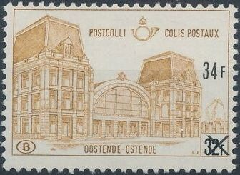 "Belgium 1971 Ostend Station Surcharged with New Value and ""X"""