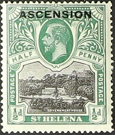 "Ascension 1922 Stamps of St. Helena Overprinted ""ASCENSION"""