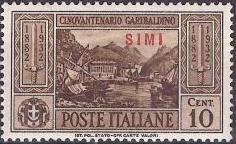 Italy (Aegean Islands)-Simi 1932 50th Anniversary of the Death of Giuseppe Garibaldi