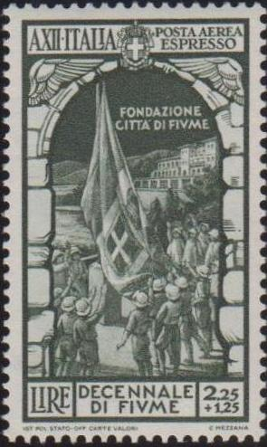 Italy 1934 10th Anniversary of Annexation of Fiume - Air Post Special Delivery Stamps b.jpg