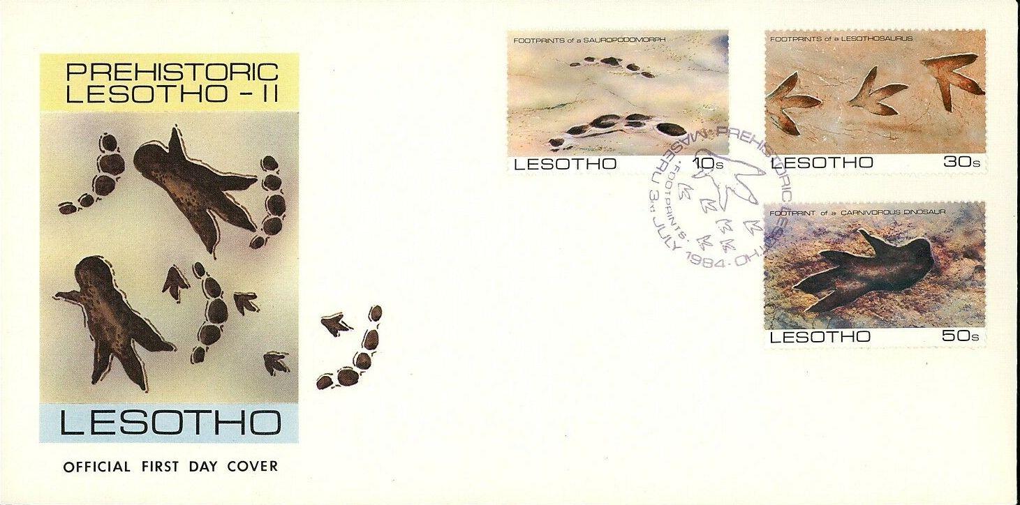 Lesotho 1984 Dinosaurs Footprints FDCa.jpg