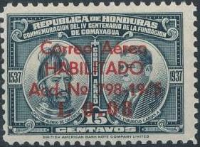 Honduras 1945 Air Post Stamps of 1937-1939 Surcharged c.jpg