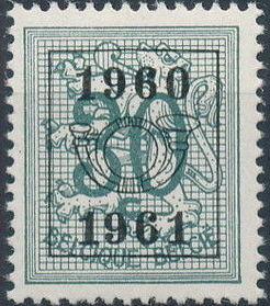 Belgium 1960 Heraldic Lion with Precanceled Number g.jpg