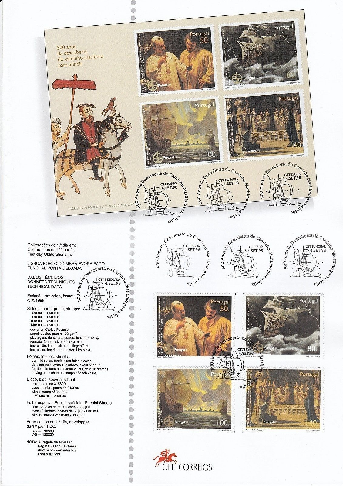 Portugal 1998 500th Anniversary of the Discovery of Maritime Route to India