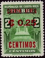 Costa Rica 1962 Revenue Stamp Surcharged and Overprinted