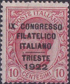 Italy 1922 9th Congress Philatelic Italian in Trieste