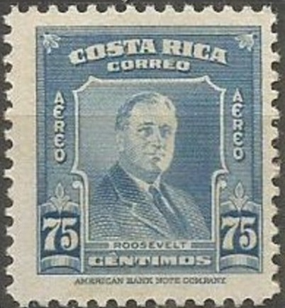 Costa Rica 1947 Franklin D. Roosevelt - Air Post Stamps e.jpg