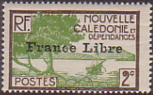 "New Caledonia 1941 Definitives of 1928 Overprinted in black ""France Libre"" b.jpg"