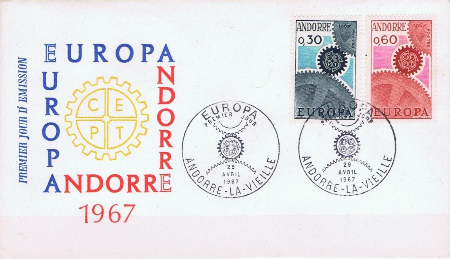 Andorra-French 1967 Europa FDCb.jpg