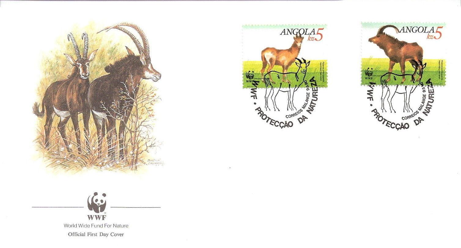 Angola 1990 WWF - Giant Sable Antelope FDCe.jpg